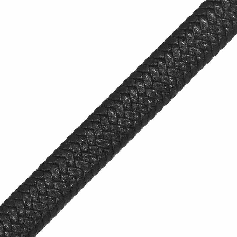 1M 12x6mm Leather Rope Braided Bracelet Black Rope Cords Jewelry Making DIY Findings Gift