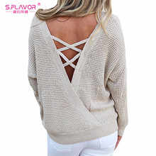 S.FLAVOR women sweaters Sexy V-Neck Loose Open Back Low Cut Knitted Full  sleeve Batwing Sleeve sweaters tops pullovers Jumper 682a01ed3