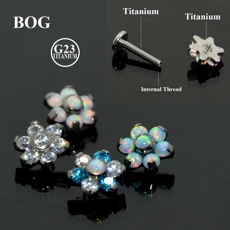 Stud-Earring Jewelry Piercing Barbell-Body Fire-Opal Helix Tragus Tragus-Cartilage G23 Titanium