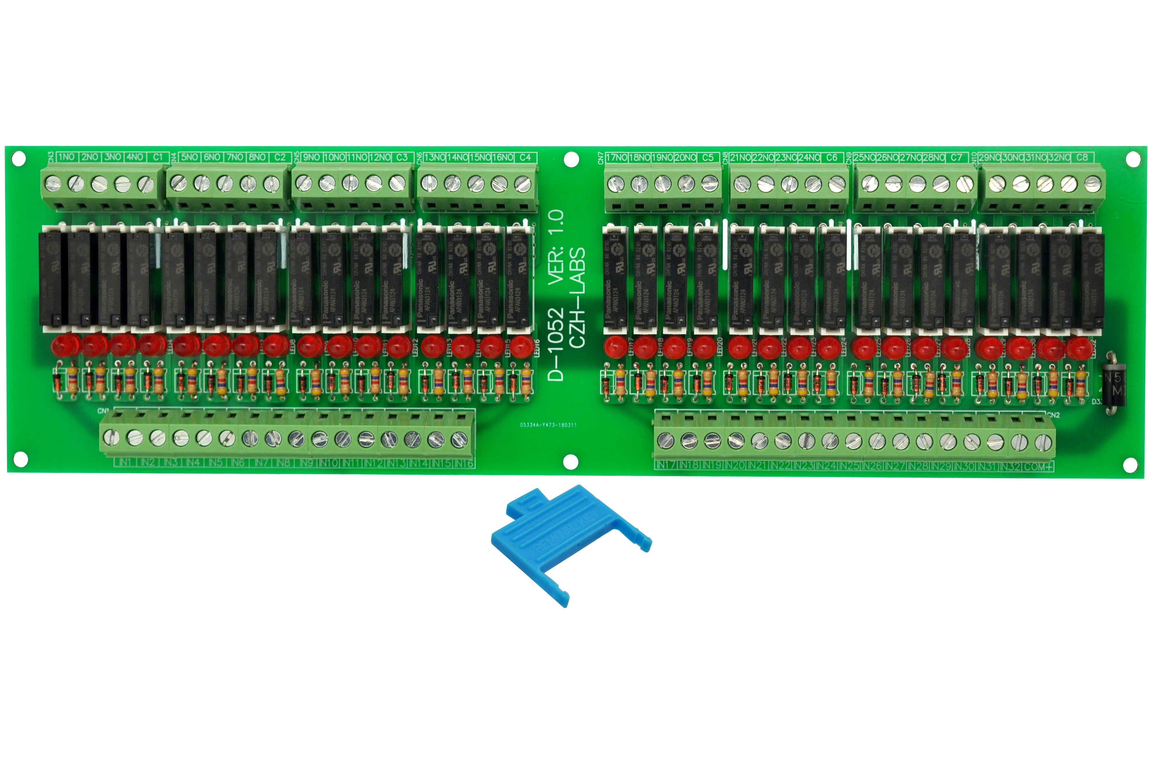 Slim Panel Mount DC24V Sink/NPN 32 SPST-NO 5A Power Relay Module, APAN3124