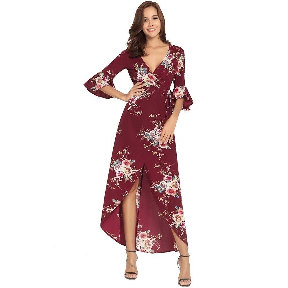 Vestidos Mujer vente femmes robe grande taille 2018 nouveau motif robe V plomb croisement Bandage impression Longuette bord de mer en vacances