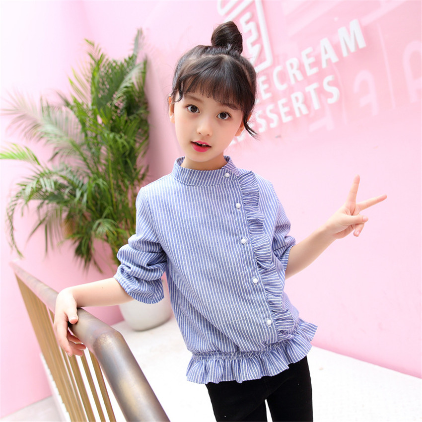 3-12 y children girls blouses 2018 New striped shirt girl long sleeve clothes for girls 12 years old lace blue blouses