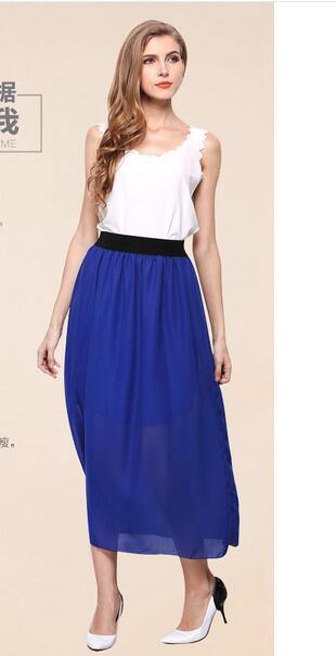 1pcs/lot free shipping korean style woman chiffon long skirt female soldi straight chiffon skirt free size