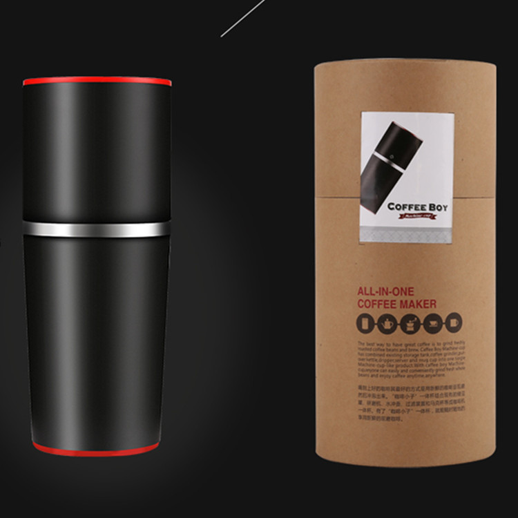 Portable Manual Coffee Maker with Coffee Bean Grinder All In One Machine Stainless Steel Coffee Machine Cafetiere Cafetera two in one coffee clip measuring spoon