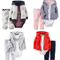 2017 Newborn 3pcs jacket+romper+pant clothing infant long sleeve suits kids baby boy girls 100% cotton clothes sets coat roupas