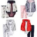 2017 Recém-nascidos 3 pcs jaqueta + romper + calça vestuário infantil ternos de manga longa crianças bebê menino meninas 100% algodão casaco conjuntos de roupas roupas