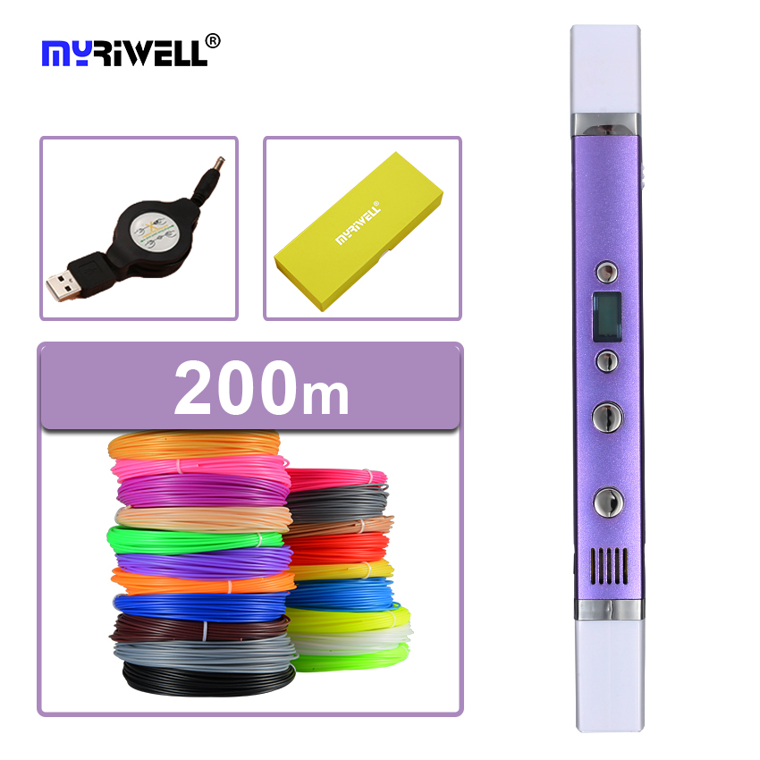 Myriwell 3d impresora 3d pluma plumas pluma 3d garabateador 3d Magia impresa pluma de Carga USB 5V2A 1.75mm abs/pla Filamento de Seda de La Mejor regalo