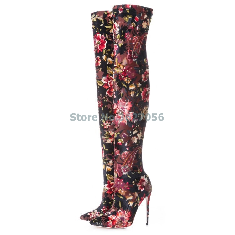 Sexy Skintight Spring Autumn Women Shoes Pointed Toe Basic Thin High Heel Boots Floral Stretch Fabric Over-the-knee Long Boots new 2018 spring wine red pink velvet upper women long boots over the knee sexy pointed toe high thin heel boots shoes lady