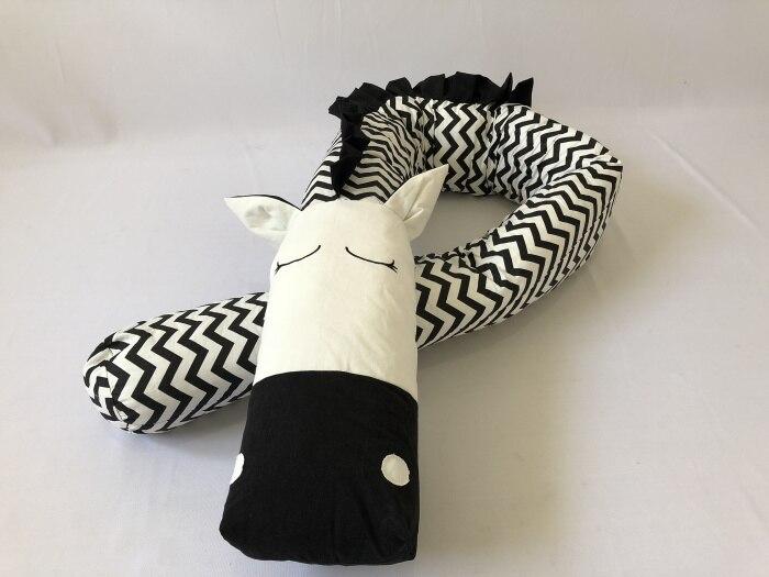 Единорог Зебра Розовый Черный волна Детские подушки детские кроватки бампер 200 см/300 см - Цвет: Zebra 200cm