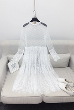 Korean Version Of The New Spring Long Ride Within The Long Sleeve Perspective Lace Dress A00460