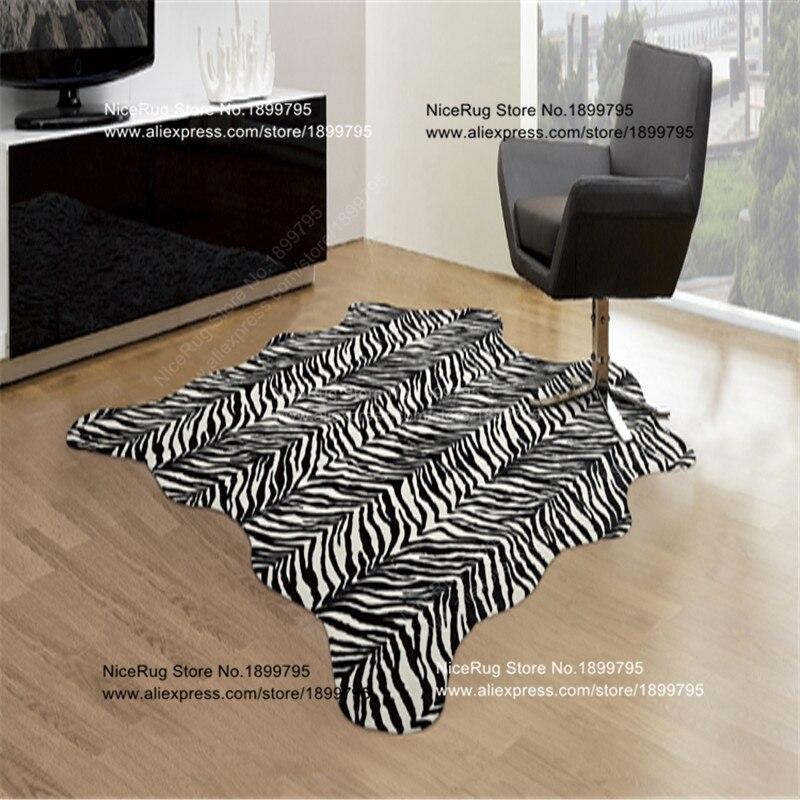 Zebra Print Rug 5.2x4.6 Feet Faux Zebra Hide Rug Animal Printed Carpet For Home