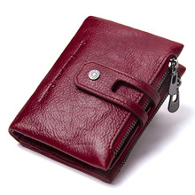 Contacts Fashion Short Women Wallet Female Genuine Leather Womens Wallets Zipper Design With Coin Purse Pockets Mini Walet 2019