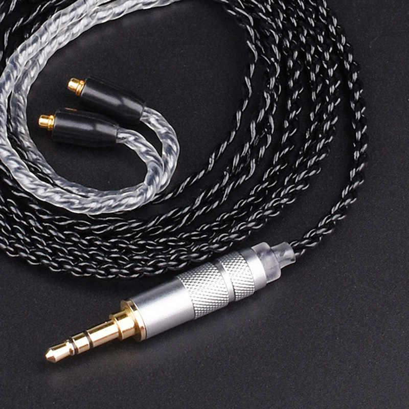 DIY MMCX kabel do Shure SE215 SE425 SE535 SE846 słuchawki uaktualnić posrebrzana miedź przewód słuchawkowy dla iPhone Android IOS