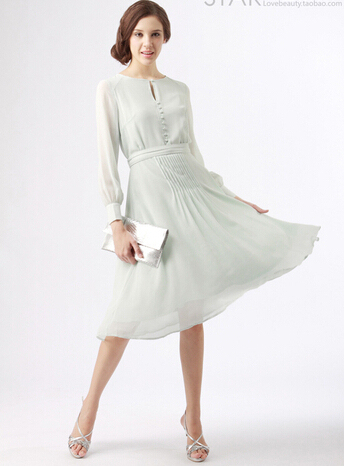 Lange mouw 2014 nieuwe kate middleton jurken kleding vestidos maxi kant formele chiffon gown lichtgroen dress