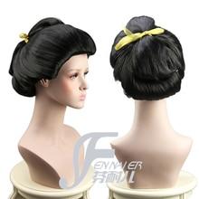 Японские красивые гейши парик Азиатский японский артист черный булочка женский костюм парик