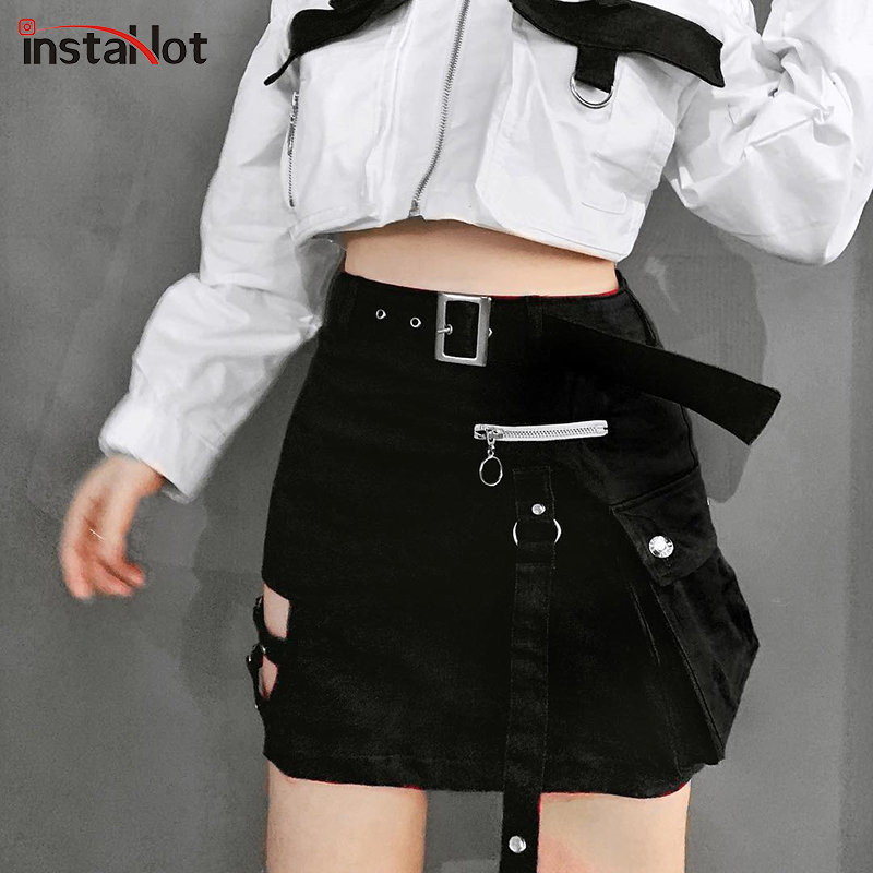InstaHot Black Gothic Belt Fake Zip Skirts Women Straight Cool Girl Fashion Mini Skirts High Waist Solid Fashion Punk Streetwear