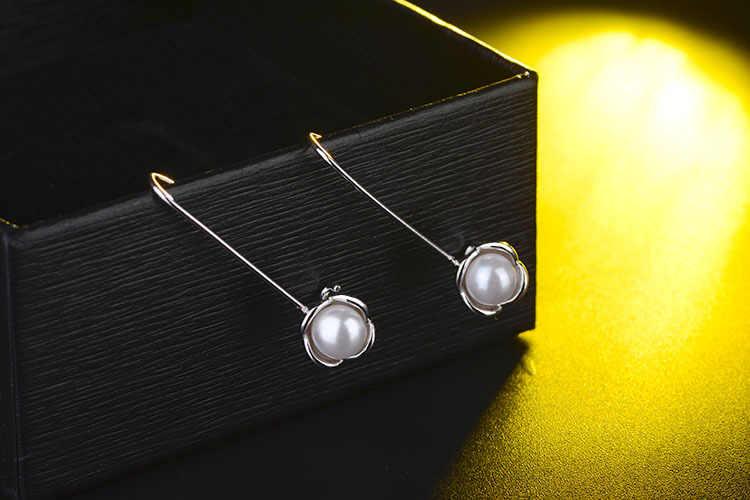 プロモーションファッション模造真珠花女性ギフト925スターリングシルバーladies'dopイヤリングジュエリーギフト安い卸売