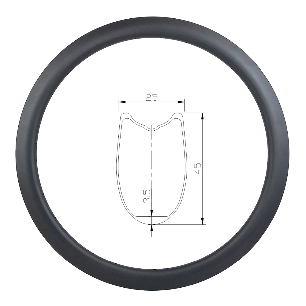 700c 45mm tubular road disc carbon rim U shape 25mm wide 20 24 28 32 36