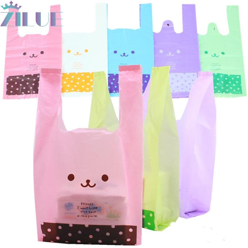 Zilue 100 шт./лот, сумка для покупок в супермаркете, пластиковые пакеты с ручкой, пакеты для закусок, бутиков, одежды, молока и чая