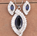 Angel Eyes Marquise Attended By Crowd Blue Onyx Fashion 925 Sterling Silver Overlay Jewelry Sets Earrings Pendant S8483