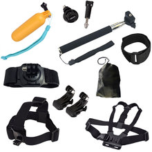 10 in 1 Helmet Harness Chest Belt Strap Monopod with J-Hook Buckle Mount Set Kit for Go pro Hero 4 5 Xiaomi SJ4000 Accessories