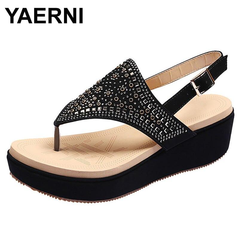 YAERNI New Women Sandals Fashion Summer  Shoes Women's Ladies Fashion Casual Crystal Large Size Platform Wedges Sandals Shoes