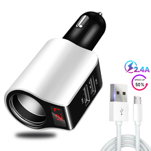 Dual USB Port Car Lighter Charger Travel Phone Tablet 5V 2.1A Car Charger with Led Display Charging USB Cable Micro Type c 2.4A стоимость