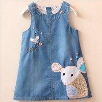 2016 Spring Summer Dress Girl Kids Baby Embroidery Sleeveless Strap Denim Sundresses For Girls Kids Dresses