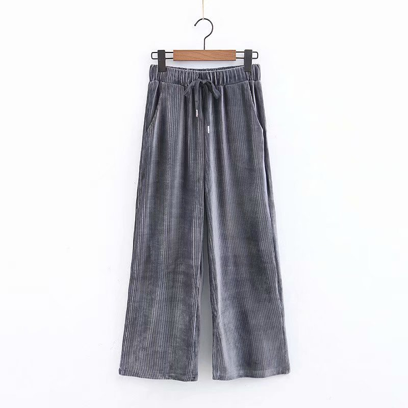 2019 Autumn Spring New Women's Wide Leg Pants Corduroy Trouser High Waist Sashes Female Loose Pants Capris