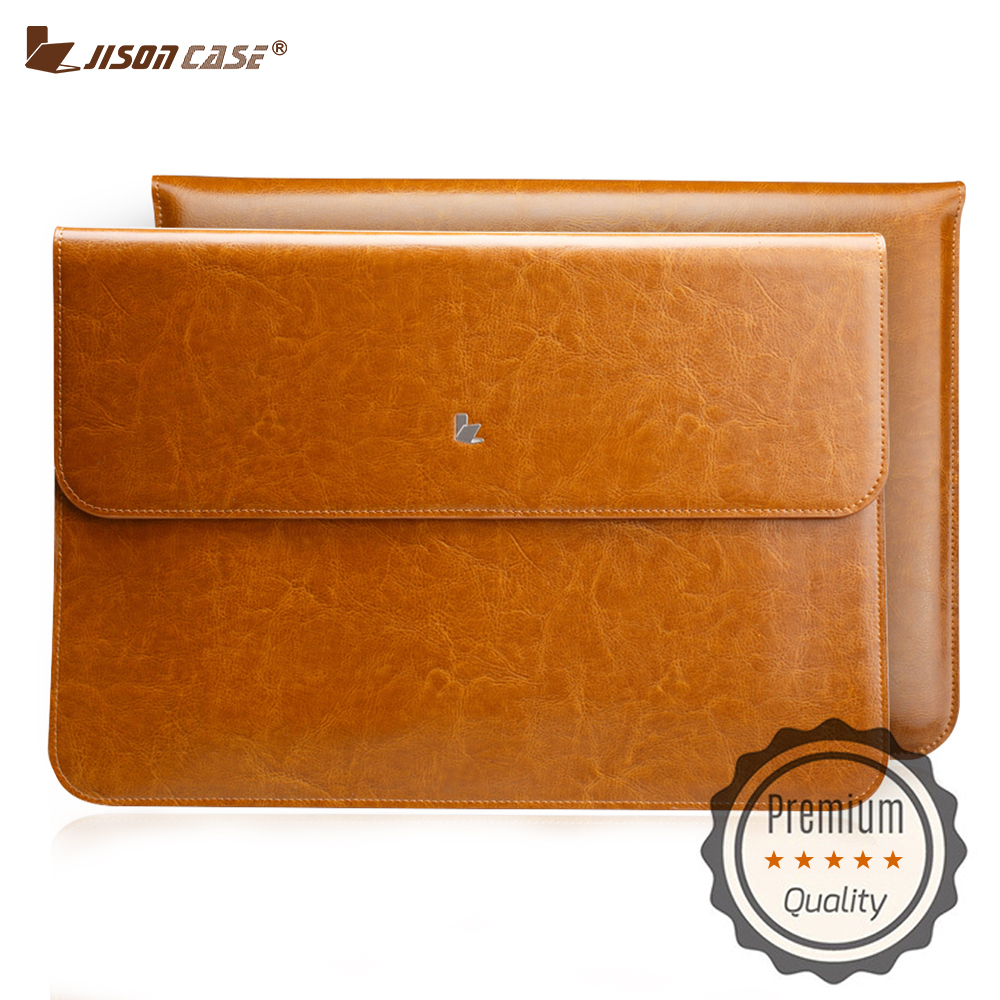Jisoncase Laptop Liner Sleeve Bag for Macbook Air 11.6 Case Genuine Leather Magnetic Laptop Case Pouch for Macbook Air 11 inch