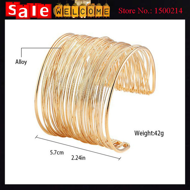 12pcs Wholesale Statement Curve Gold Plated Wide Opened Cuff Hollow Wire String Bracelets & Bangles Ladies Jewelry Accessories