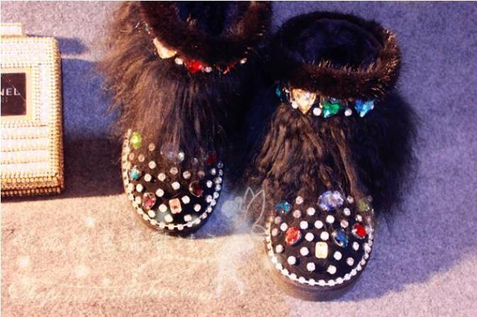 Волшебное шоу оригинальные Роскошные норковые меховые стеклянные акварельные сверла кожаные ботинки пляжная шерсть зимние ботинки