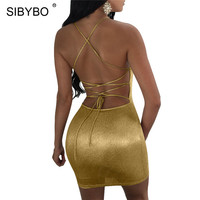 Sibybo Backless Bandage Sexy Mini Dresses Short Off Shoulder Sleeveless Sheath Bodycon Dresses For Women Metal