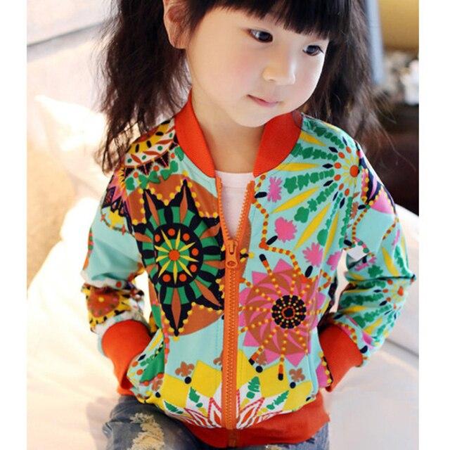 2016 новая весна симпатичная девочка пальто печать мультфильм цветок граффити с капюшоном на молнии девушка куртка полный рукав малыша девушка верхняя одежда