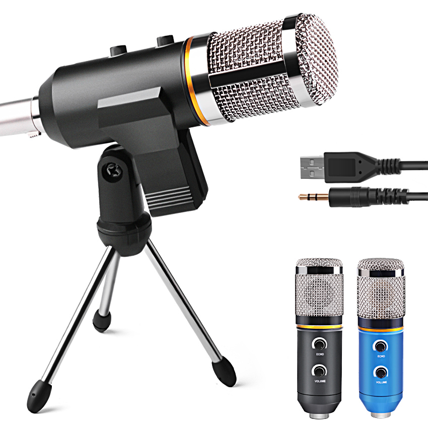MK-F200TL Professional Microphone USB Condenser Microphone for Video Recording Karaoke Radio Studio Microphone for PC Computer 3 5mm jack audio condenser microphone mic studio sound recording wired microfone with stand for radio braodcasting singing