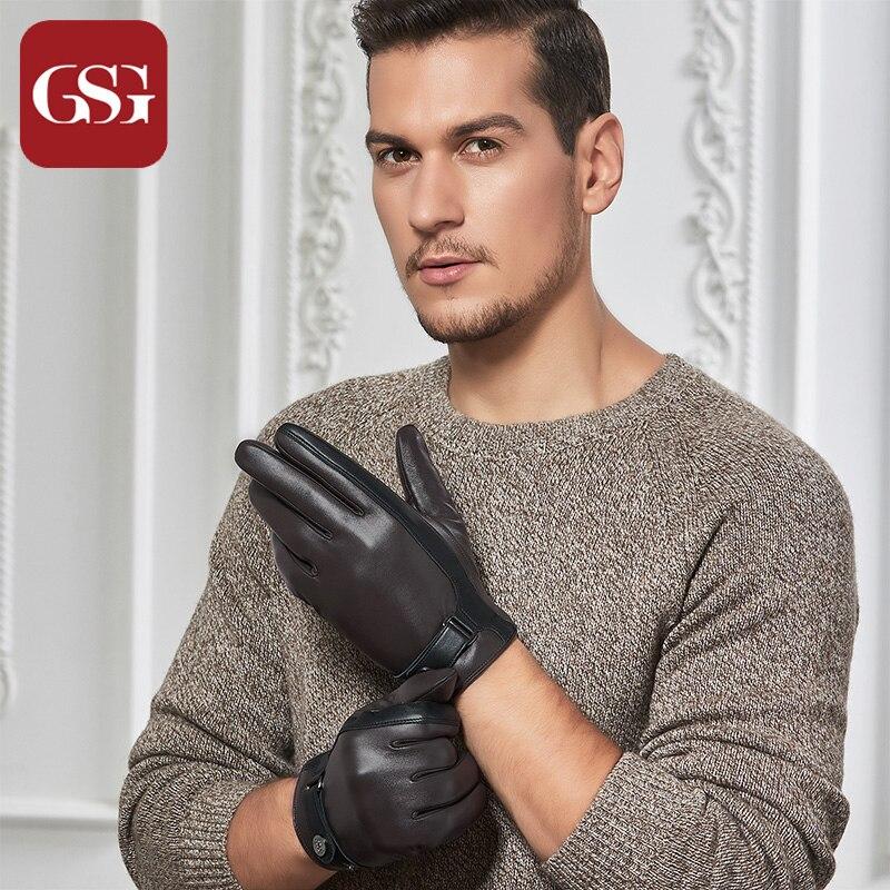 GSG mode hommes gants en cuir véritable chaud hiver gants en cuir hommes écran tactile conduite gants laine cachemire doublé