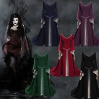 5 Colors Vintage V Neck Long Flare Sleeve Maxi Dress The Medieval Cos Clothing Halloween Dress