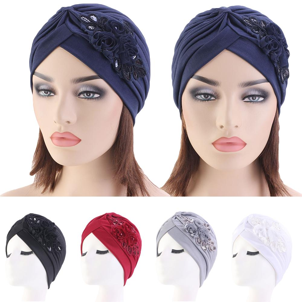 Women Hair Loss Hat Head Scarf Turban Cap Flower Muslim Cancer Chemo Hat Cover Wrap Islamic Bonnet Pleated   Skullies     Beanies   Cap
