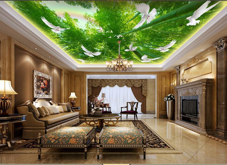 3D Ceiling mural wallpaper Bamboo forest dove rainbow 3d ...