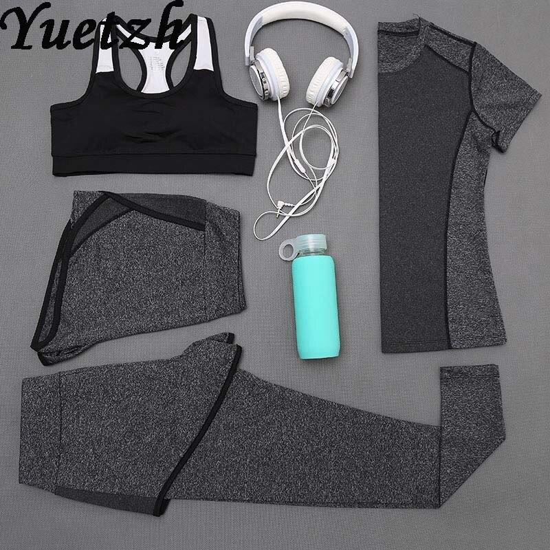 Nouveau femmes 4 pièces Yoga costume gym porter sport course costume de sport fitness survêtement randonnée escalade porter des vêtements russe