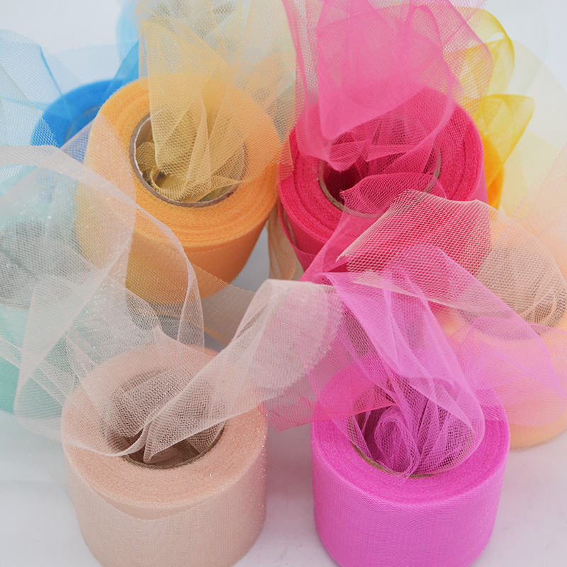 ZQNYCY 22M Colorful Shiny Crystal Tulle Roll Wedding