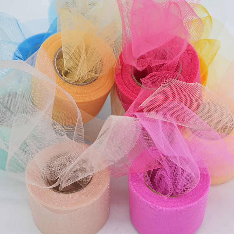 6 x 10 DIY Craft Wedding Party Gift Bow Craft Sequin Fabric Spool Tutu Party Banquet Decor Gift Wrap Yards Sparkling Tulle Roll Apricot Pink