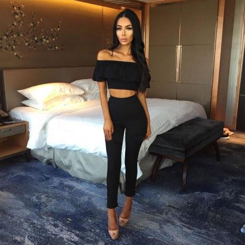 221549aa8c16 Aliexpress.com   Buy 2018 Two piece Playsuit for Women Crop Top Blouse +  Pants Bodysuit Jumpsuit Romper Set from Reliable Women s Sets suppliers on  ...