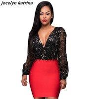 Jocelyn Katrina Brand Sexy Deep V Neck Long Sleeve Paillette Black Red Bodycon Party Dress For