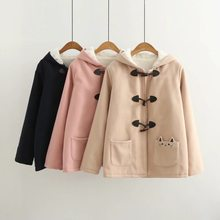 Japanese Mori Girl School Casual Vintage Boho Pocket Cat Embroidery Women Wool Blends Hoodie Long Jacket Thick Warm Fleece Coat(China)