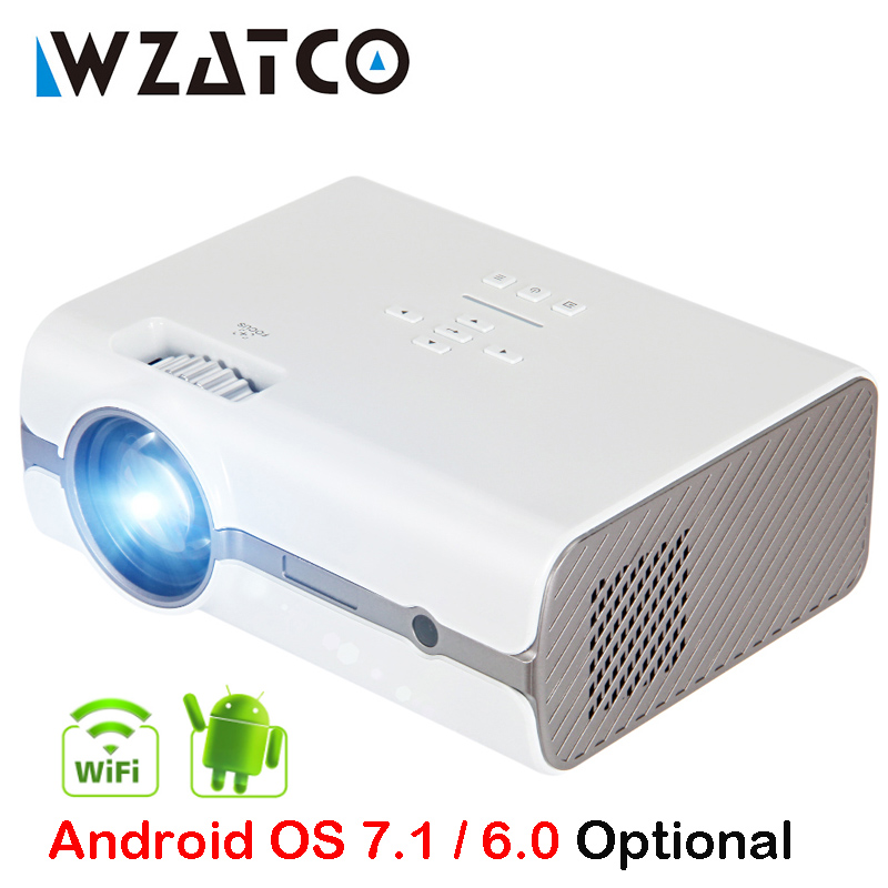 WZATCO CT68S 2500lumens Portable LED TV Projector HDMI Beamer Android OS Wifi for Home theater Support