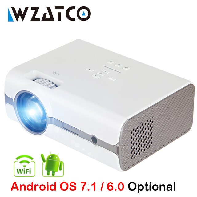 Big Promo WZATCO CT68S 2000lumens Portable MINI LED Projector Beamer Upgrade Android OS 7.1 Wifi for Home theater Support Full HD 1080P 4K