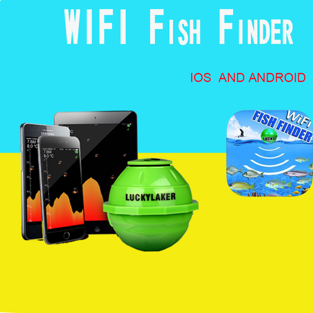 Lucky FF916 Wireless WIFI Sonar Fish Finder For IOS Android Smart Fishfinder 50M/130FT Echo Sounder Fish Detect Device #C0 smart phone fishfinder wireless sonar fish finder depth sea lake fish detect ios android app findfish smart sonar echo sounder