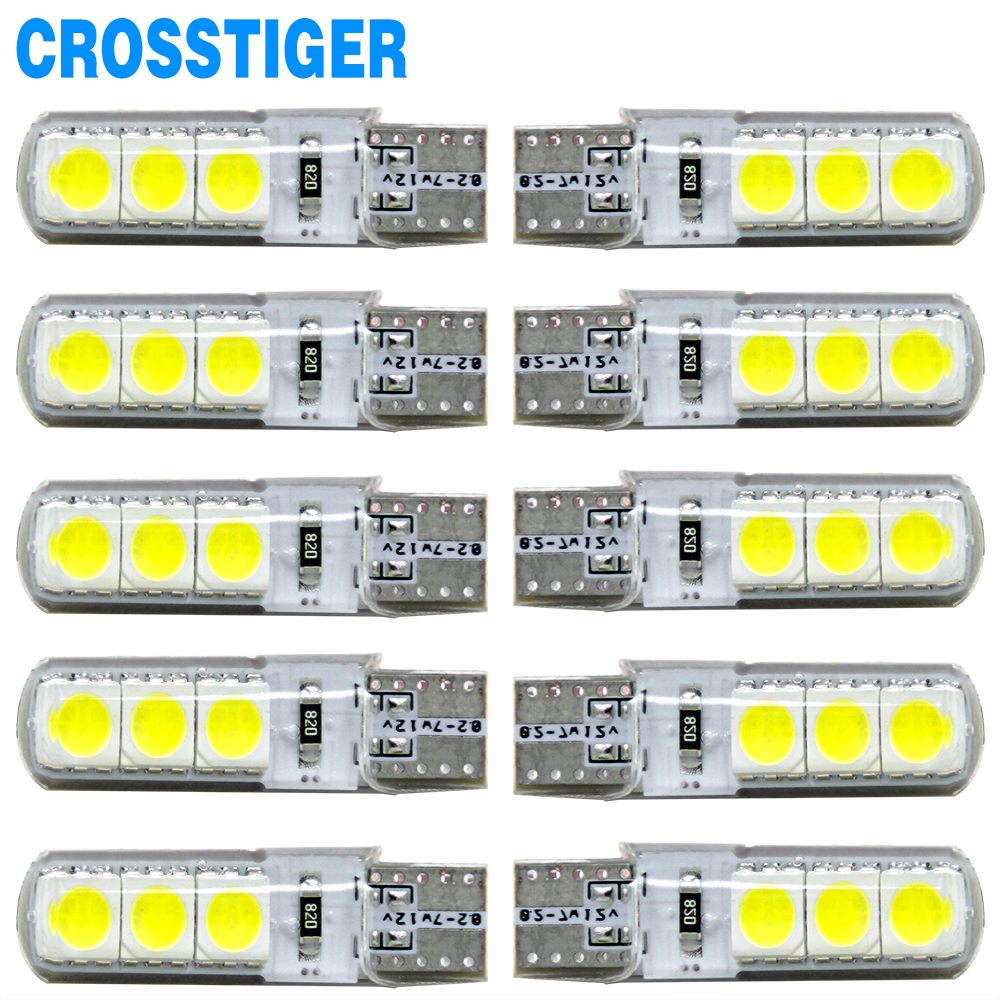 10pcs w5w T10 Led Bulbs 194 5050 6 smd DC 12V Car-styling License Plate Light Clearance Lights Super Bright Waterproof 4pcs super bright t10 w5w 194 168 2825 6 smd 3030 white led canbus error free bulbs for car license plate lights white 12v