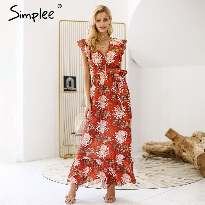 Simplee V neck ruffle boho summer dress women Hollow out sash tie up long dress 2018 Sleeveless beach maxi dress casual vestidos